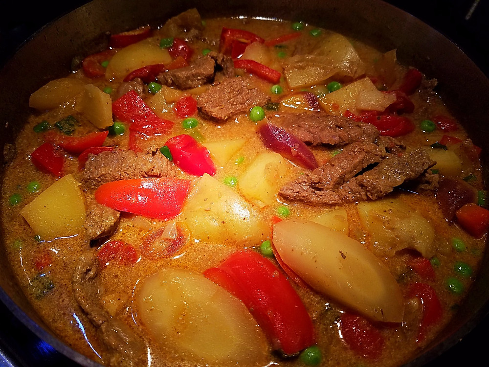 Madras Beef Curry, ready to serve