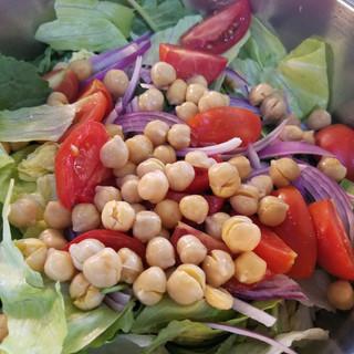 Prepare the salad ingredients.