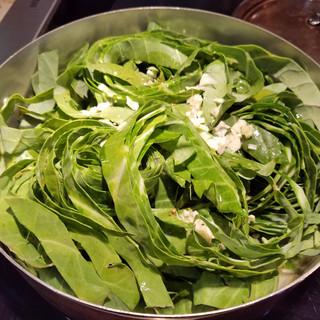 Saute the collard ribbon greens
