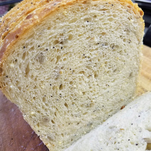 Seeded Sourdough Sandwich Bread makes fantastic sandwiches or toast.