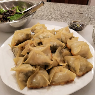 remove the pot stickers from the pan and serve!
