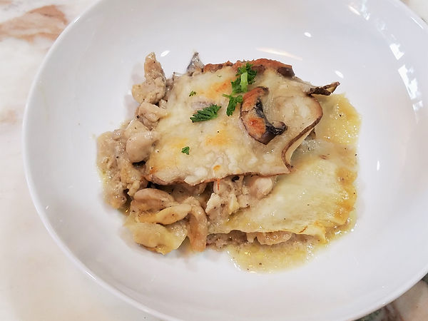 Parsnip Potato Bake with Creamy Mushroom Sauce and Chicken