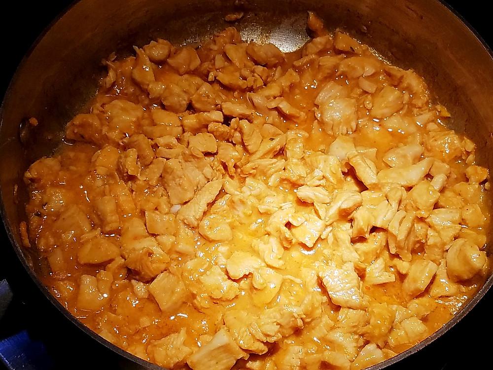 Chicken stir-fry for Thai Chicken Lettuce Wraps