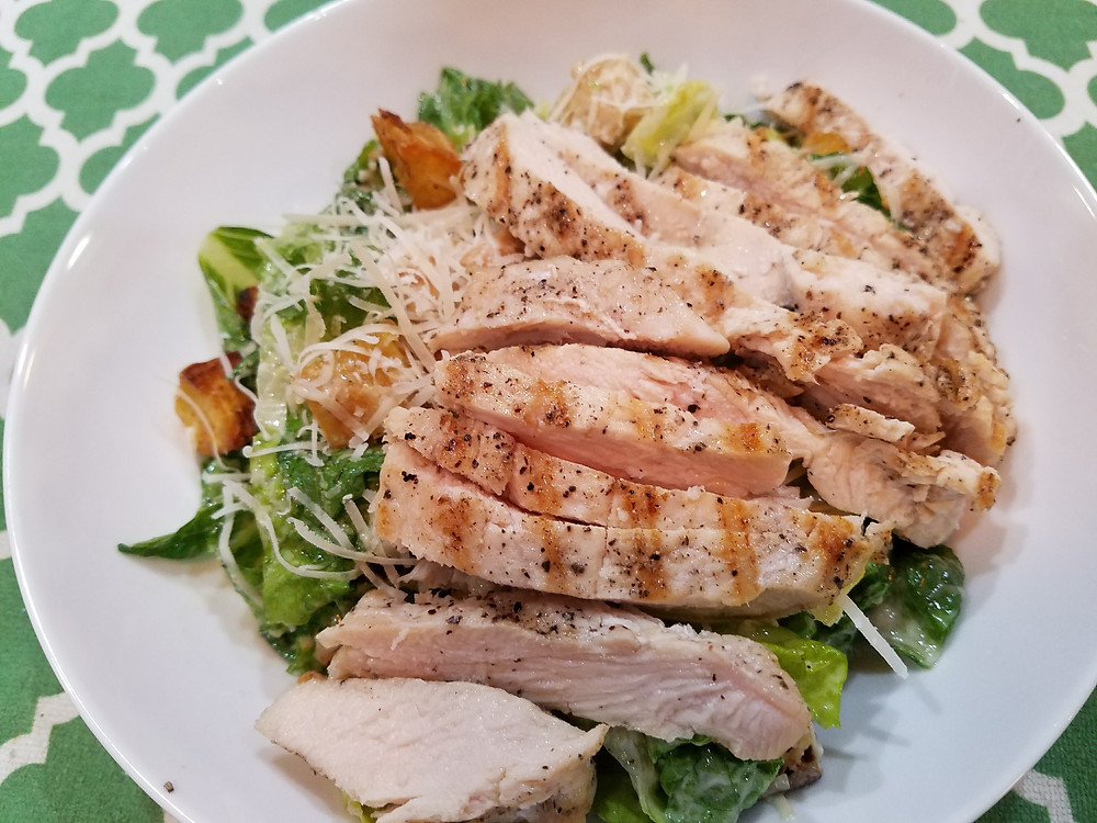 Grilled Chicken Roasted Sweet Potato Caesar Salad
