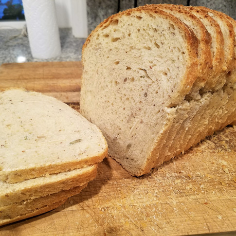 Sourdough Sandwich Bread with ground flax and almonds