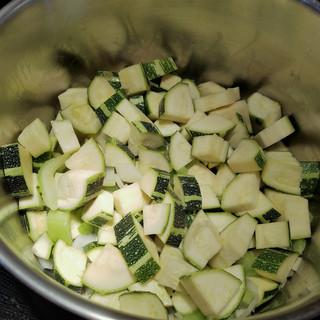 Add the zucchini and saute until softened.