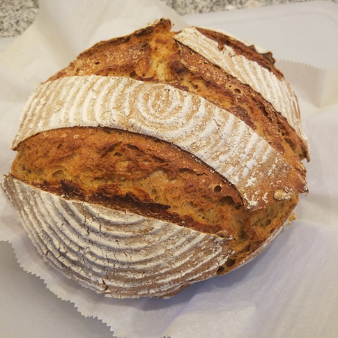 Sprouted Wheat Sourdough Bread with Pumpkin Seeds and Dried Cherries