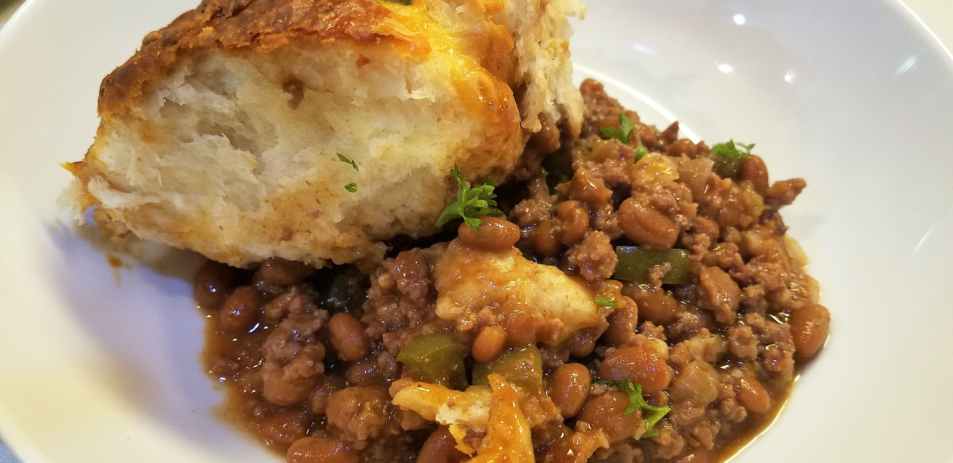 Beef Bean and Biscuit Bake