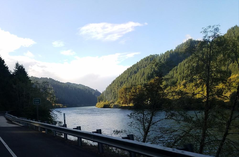The Umpqua River approaching Reedsport, Oregon.