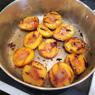 These peaches were not peeled and you would never notice in the final dish. Talk about easy!