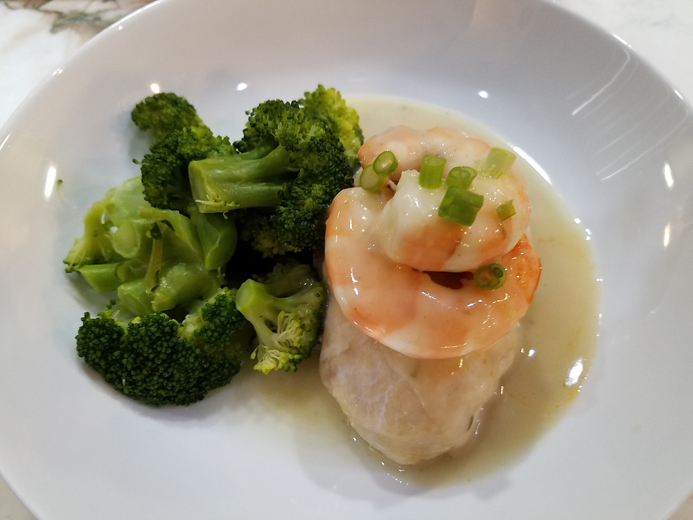 Shrimp Stuffed Chicken Breast with Lobster Sauce