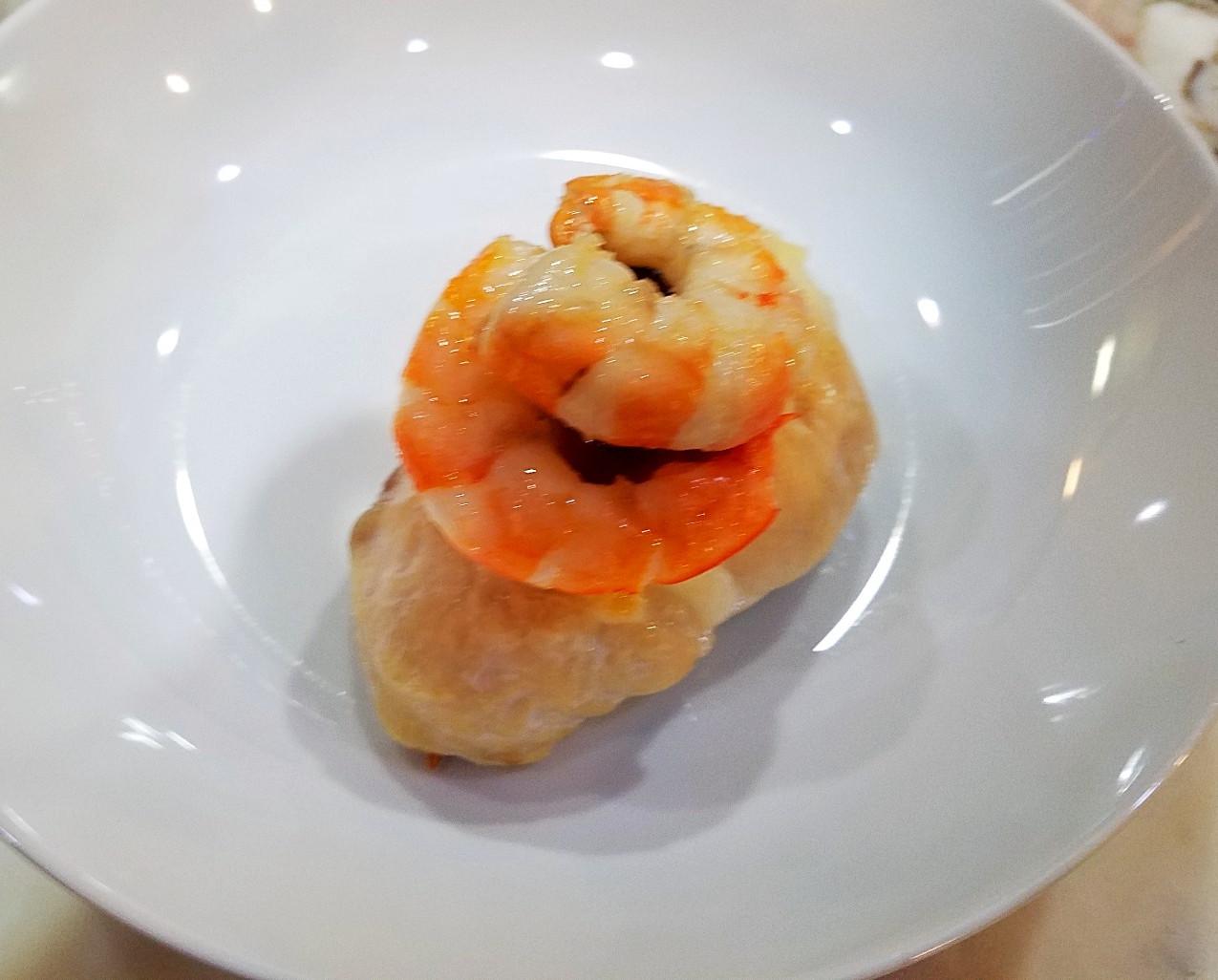 Shrimp topped stuffed chicken