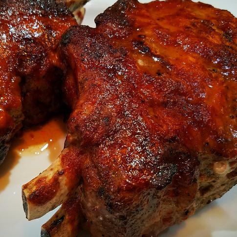 Double Cut Pork Chops with Korean BBQ Glaze