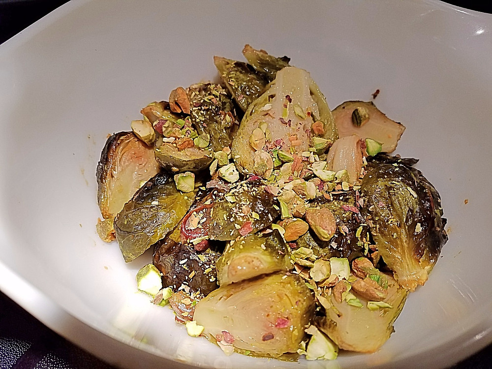 Roasted Brussels Sprouts with Pistachios