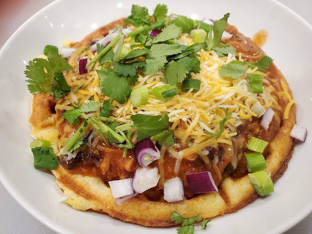 Chicken Chili and Sourdough Cornbread Waffles