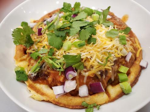 Chicken Chili and Sourdough Cornbread Waffles