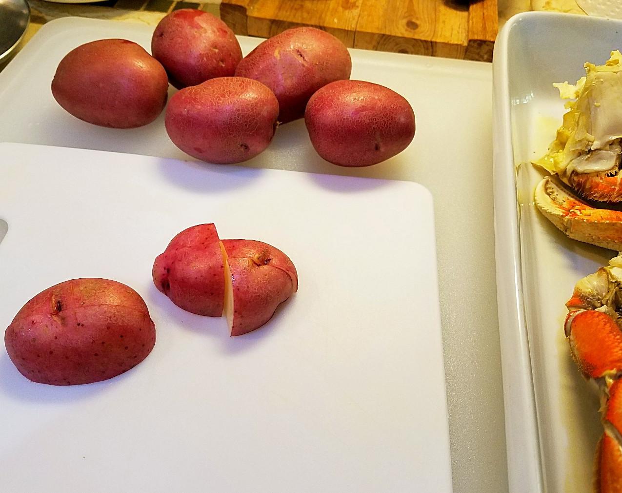 quartering 7 potatoes