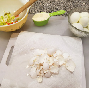 Rinse each egg after peeling it to keep tiny bits of shell from ruining your creamy egg salad.
