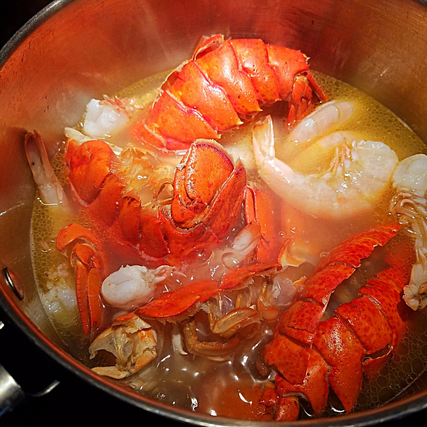 Boiling the lobster tail shells