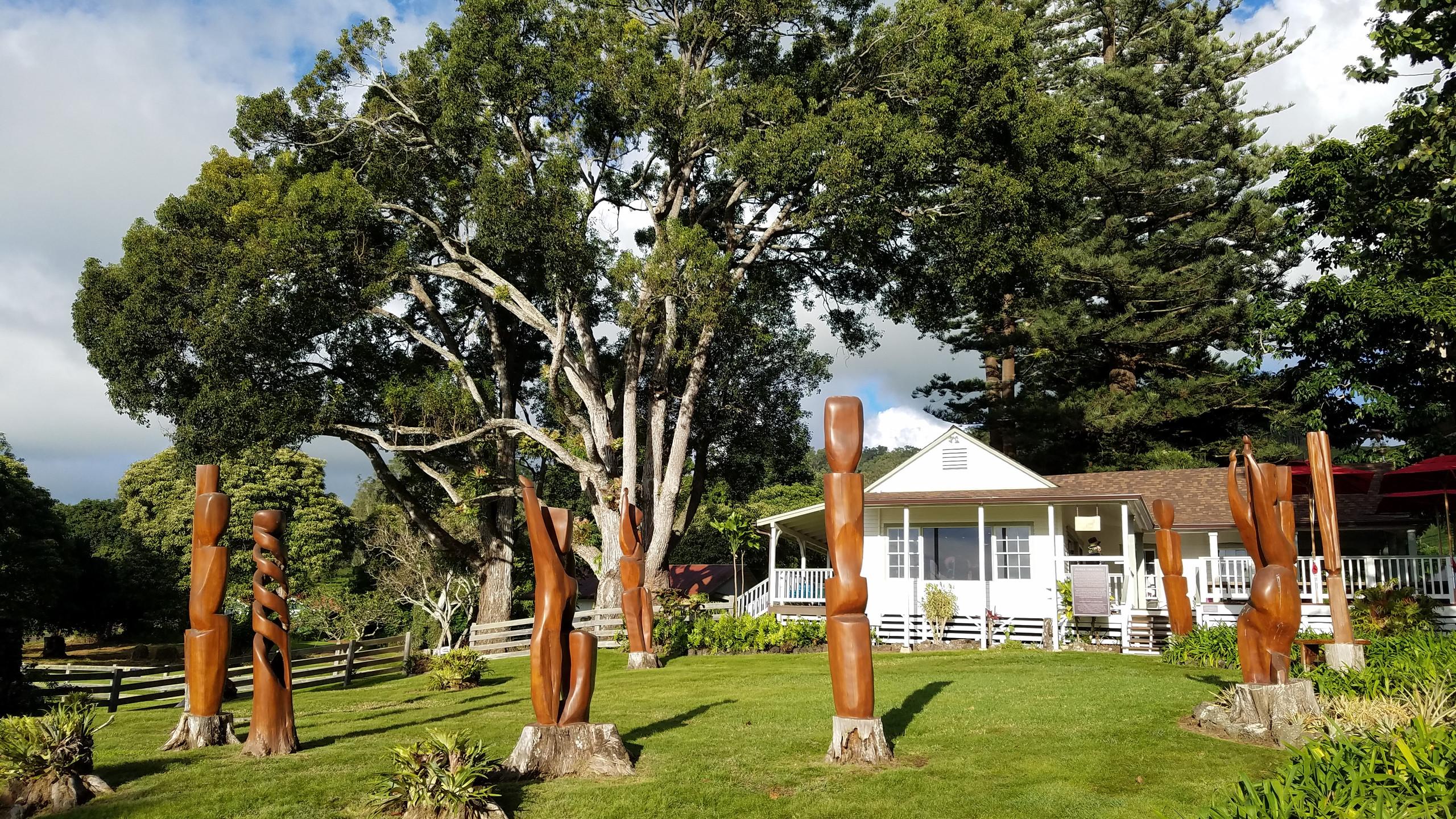 Wood Sculptures at Maui Wine