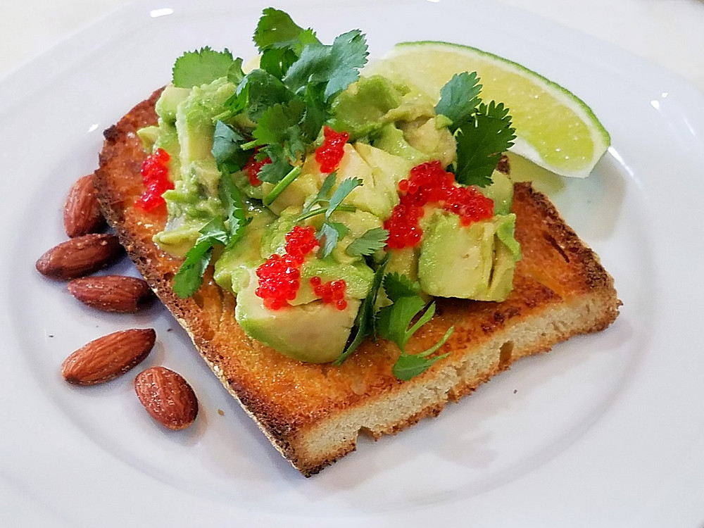 Avocado Sourdough Toast with Tobiko and Cilantro