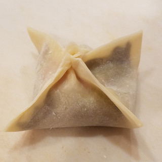 Pull the corners together and pinch the sides to form the pot sticker. Start with bringing the opposite corners together, pinch, then bring the other set of opposite corners to the middle and pinch to seal.