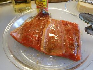 Season the salmon fillets