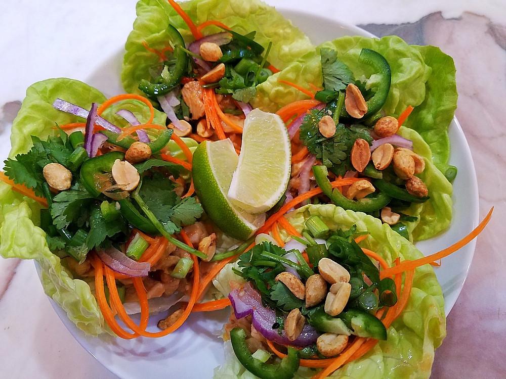 Best Thai Chicken Lettuce Wraps