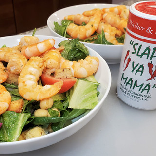 Fill some large shallow bowls with the salad and top with the perfectly seared shrimp.