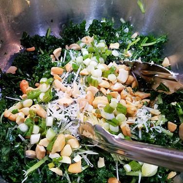 Massaged Kale Salad                             with Scallions, Lemon and Cashews