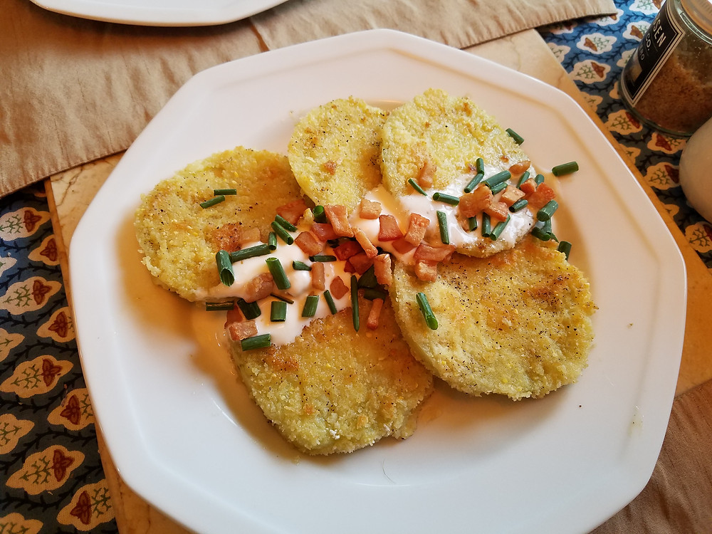 Fried Green Tomatoes with Salt Pork Croutons