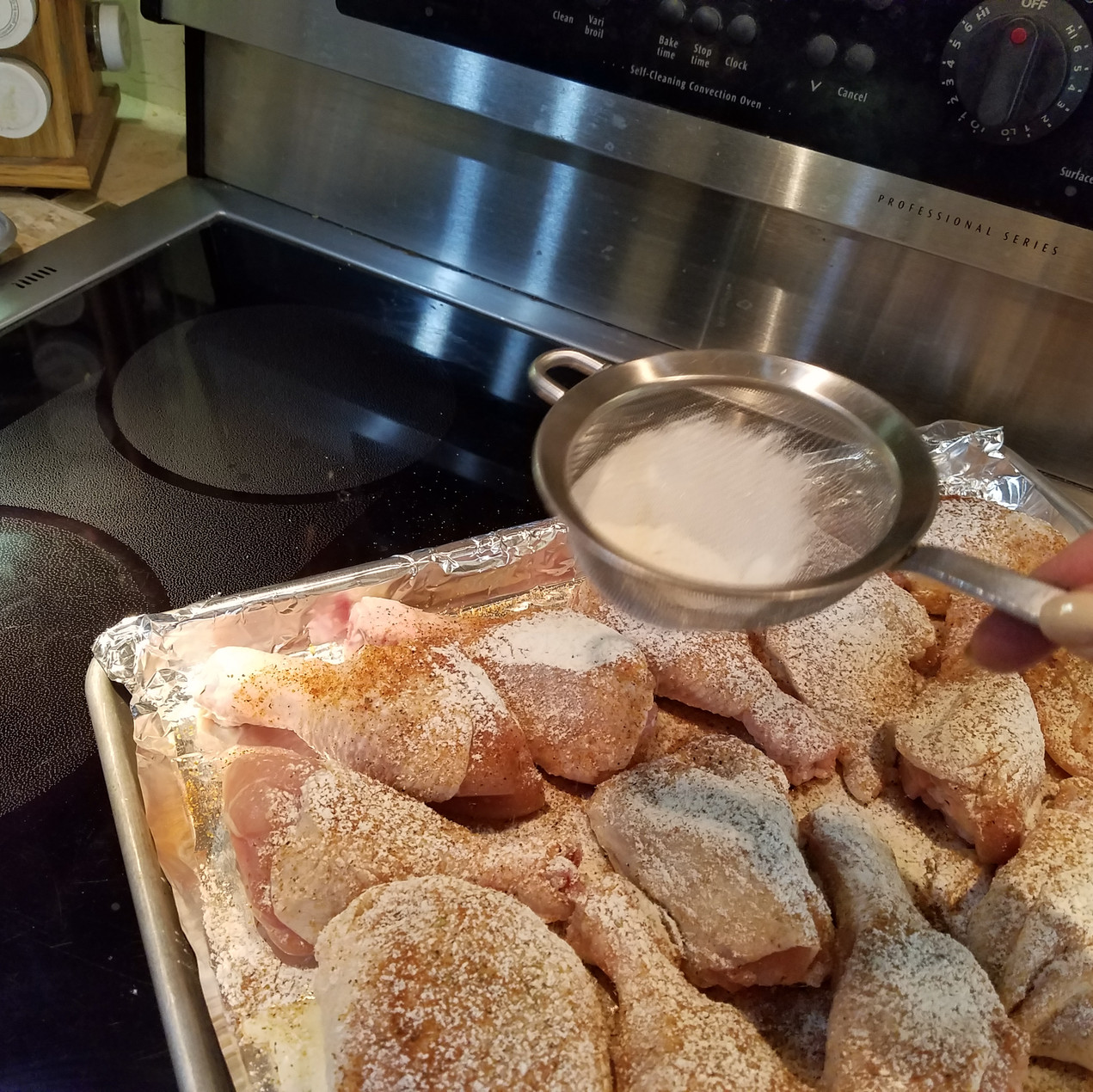 Sift some flour right over the top