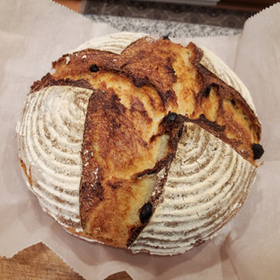 Remove the bread from the oven when it is deep golden brown (flour still white) and hollow sounding when tapped.