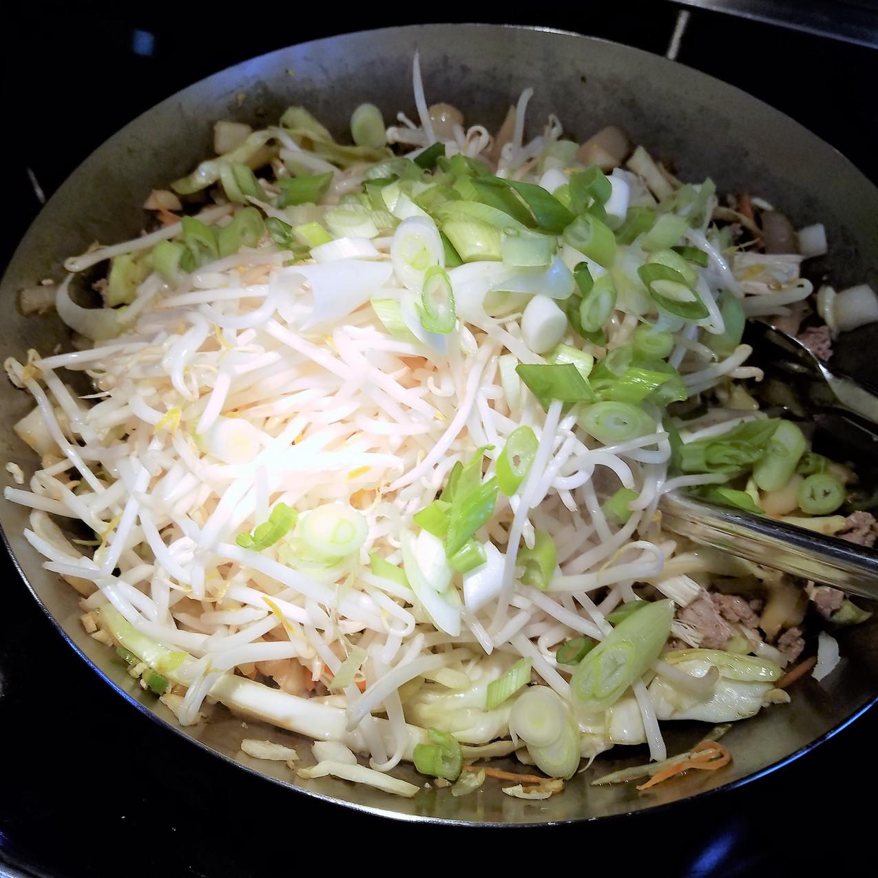 Next, add some more delicate veggies