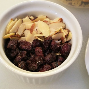 Almonds and dried cranberries.