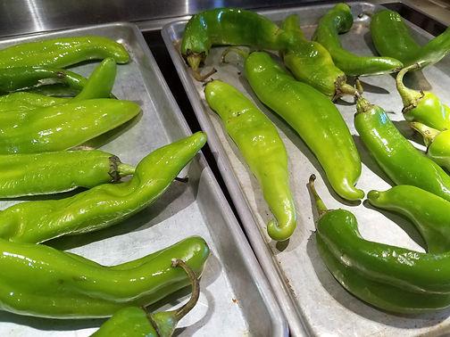 Roasting Hatch Chilis
