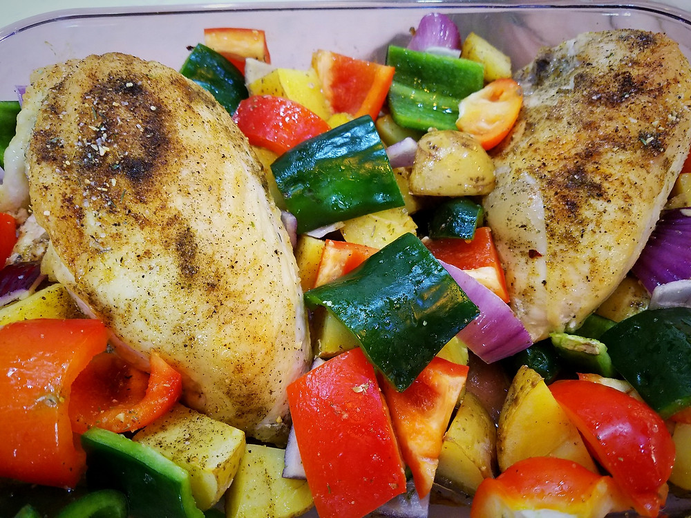 Spanish seasoned chicken and vegetables