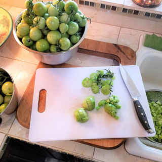 Chop up the green tomatoes in a 1/4  to 1/2 inch dice.