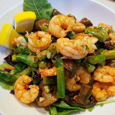 Asparagus, Shrimp &  Mushroom Skillet Salad