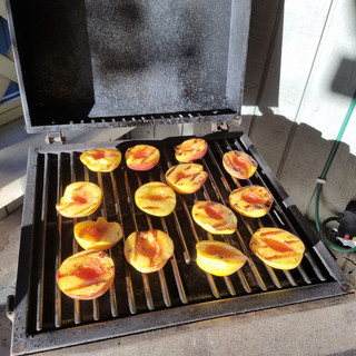 We had some greener peaches and probably should have left them on a little longer but they were still super tasty!
