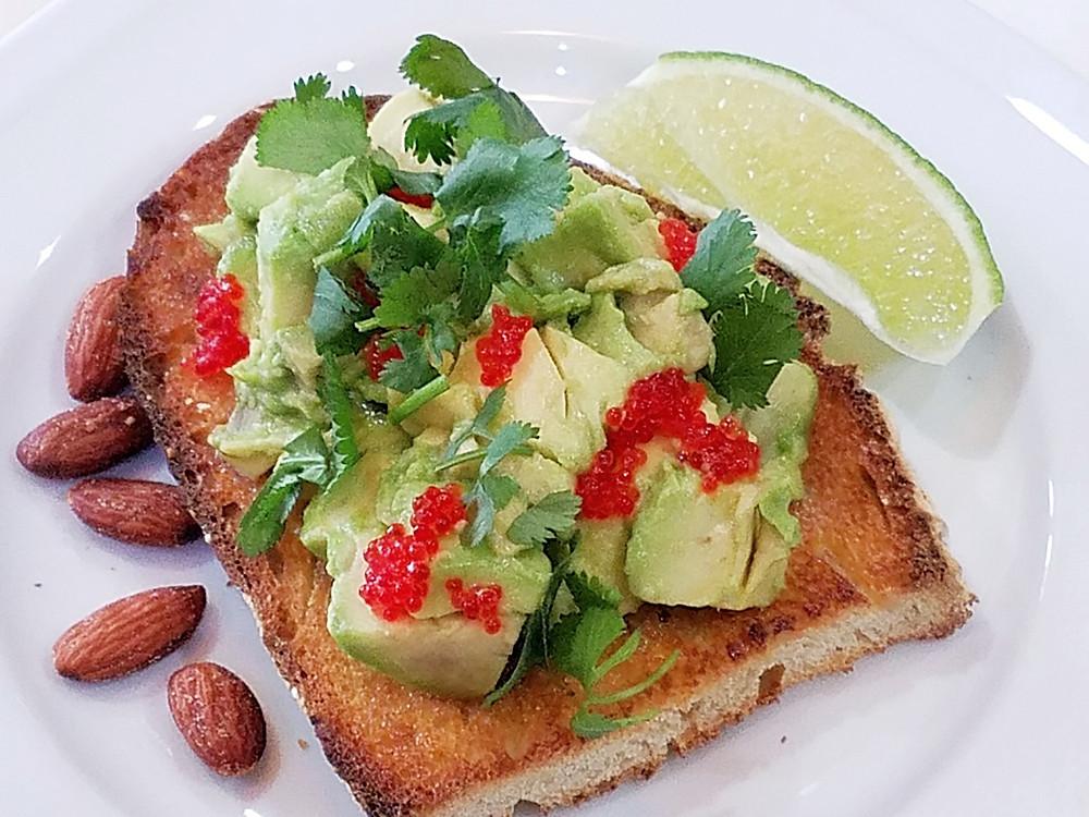 Avocado Sourdough Toast with Tobiko and Cilantro