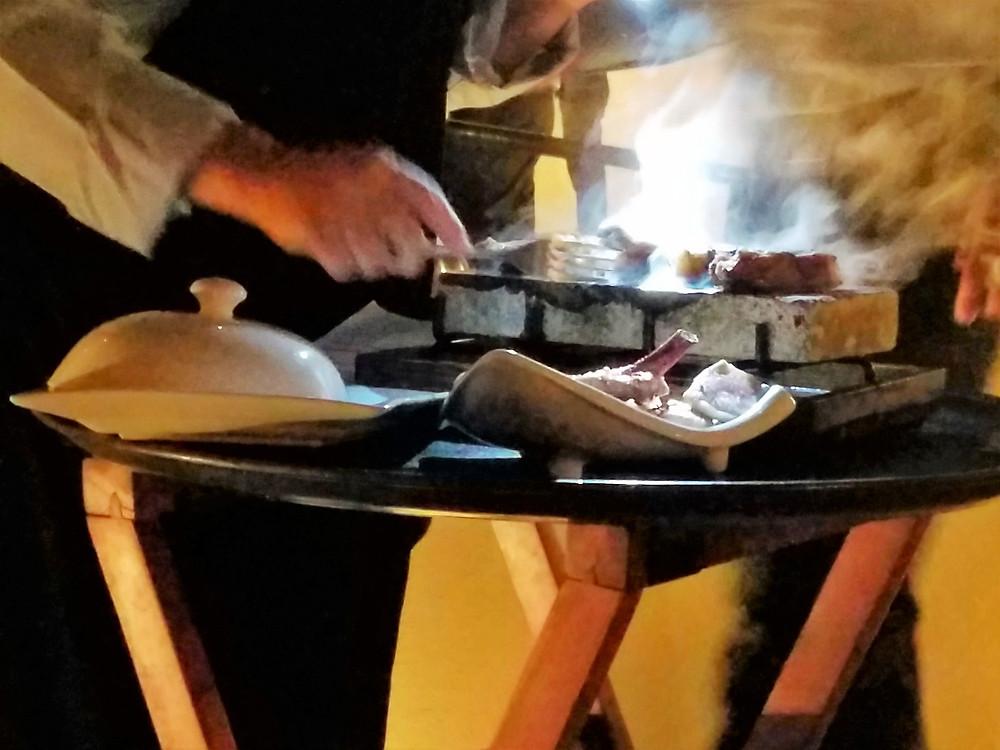 Table side pork chop grilling.