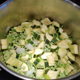 Add the frozen peas.