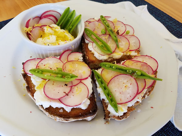 Radish Ricotta Toast with Fresh Snap Peas and Lemon Zest