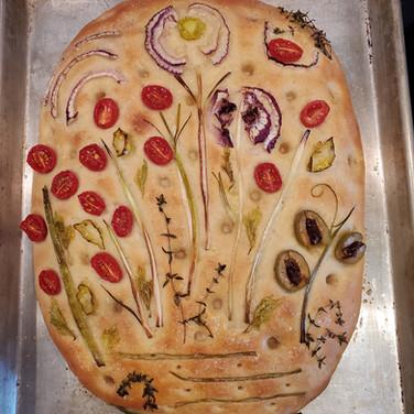 Sourdough Garden Focaccia Bread with Whole Wheat