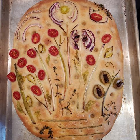 Sourdough Garden Focaccia Bread with Whole Wheat  Copy