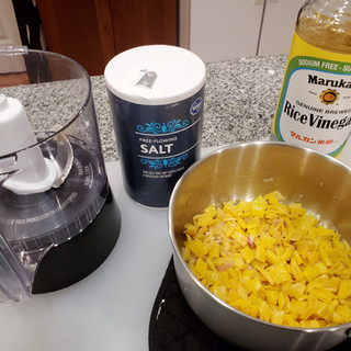 Add the contents of the saucepan, 1 teaspoon of salt and 3 tablespoons vinegar of choice to a food processor and puree to desired consistency.
