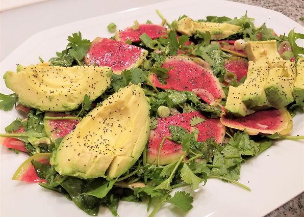 Watermelon Radish & Avocado Salad with Honey Mustard Vinaigrette