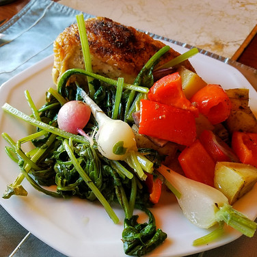 Chicken Vegetable Pan Roast with Butter Braised Radishes and Greens