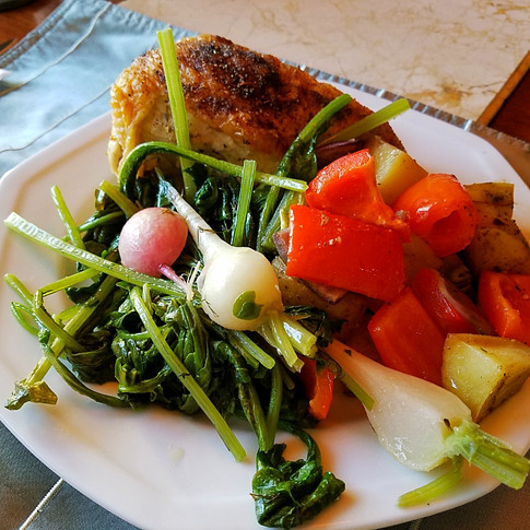 Chicken Vegetable Pan Roastwith Butter Braised Radishes and Greens